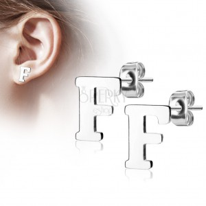 Steel earrings in silver hue - capital letter F, high gloss