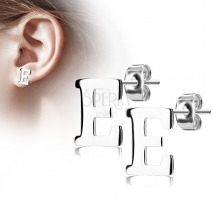 Stud earrings made of 316L steel - capital letter E, silver colour