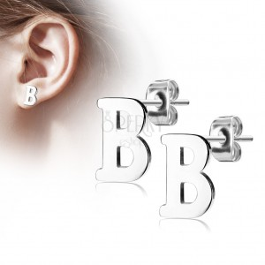 Steel earrings in silver hue - capital letter B, high gloss