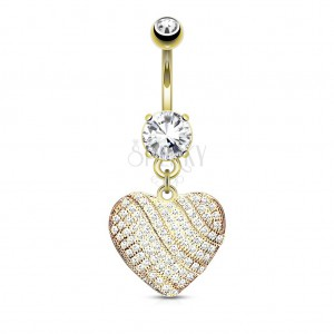Steel bellybutton piercing, sparkly heart inlaid with clear zircons