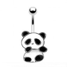 Steel belly piercing - panda of white and black glaze