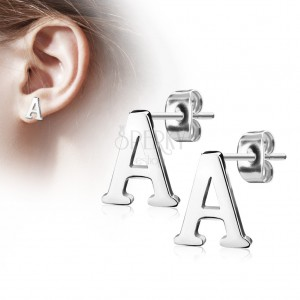 Stud earrings made of 316L steel - capital letter A, silver colour