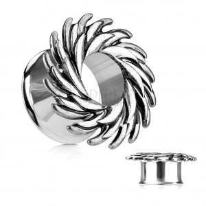 Steel ear tunnel, silver colour, swirl composed of pointed spikes