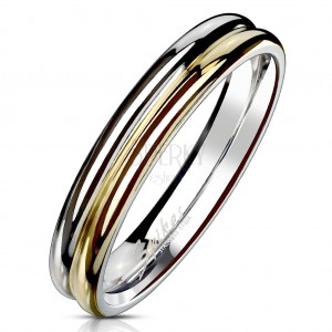 Ring made of 316L steel - bicoloured ring with notches in the middle, 4 mm