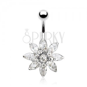 Steel bellybutton piercing, sparkly flower composed of zircons