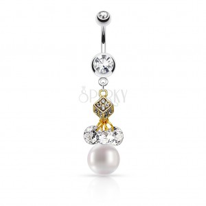 Bellybutton piercing made of 316L steel, cube in gold colour, clear zircons, white ball