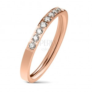 Steel ring in copper colour, line of clear zircons, shiny surface, 2,5 mm