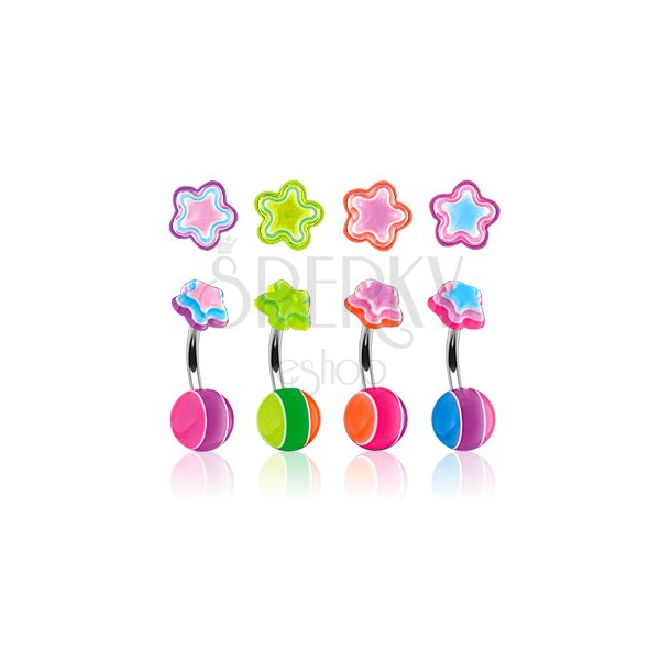 Belly button ring - multicolour star