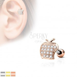 Tragus Piercing Made Of Surgical Steel Le With Clear Zircons
