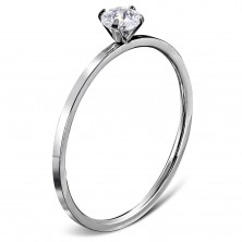 Engagement ring made of 316L steel in silver colour, round clear zircon