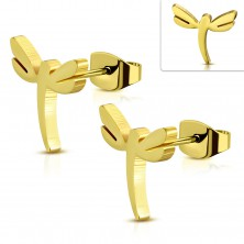 Stud steel earrings in gold hue, shiny dragonfly