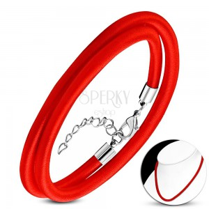 Red necklace wound around with shiny thread, adjustable length, lobster closure