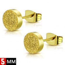 Stud steel earrings in gold colour, circle with sanded surface