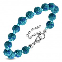 Blue bracelet, bigger patterned FIMO balls and tiny transparent beads