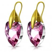 Earrings made of 316L steel in gold hue, violet zircon heart, hooks