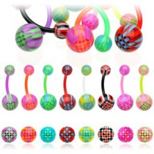 Belly button ring - colorful grid