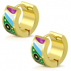 Gold steel earrings with hinged snap, glazed colorful shapes