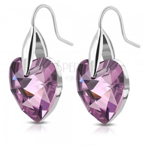 316L steel silver earrings, purple zircon hearts, hooks