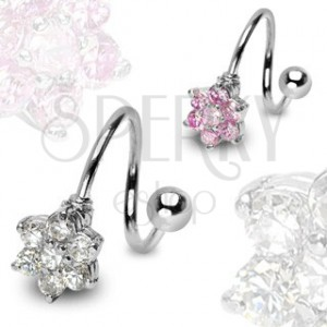 Stainless steel piercing - spiral with zircon flower and ball