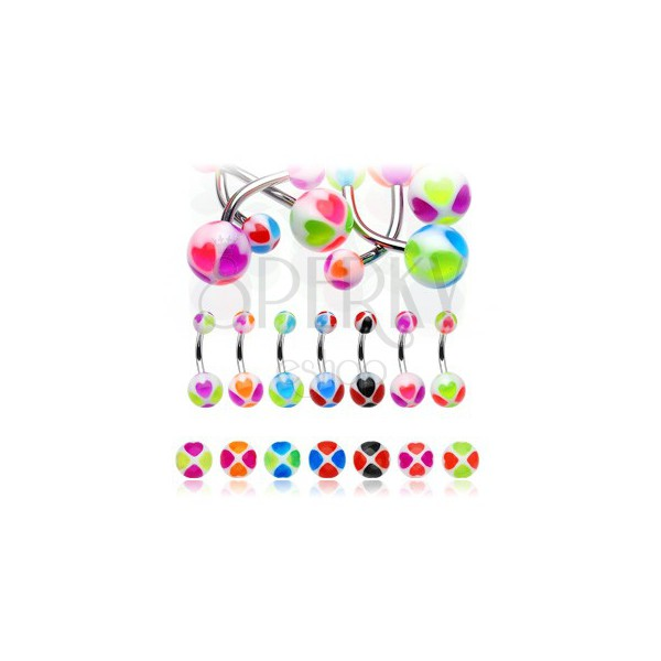 Belly button ring - two-tone hearts