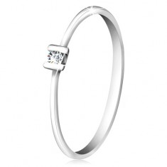 Brilliant ring made of 585 white gold - glossy clear diamond gripped with prongs