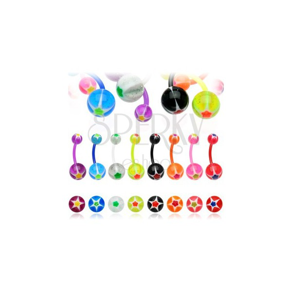 Navel ring - colorful flower and star