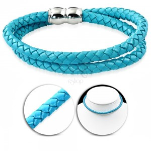 Necklace made of synthetic leather in light blue colour, knit pattern, magnetic closure