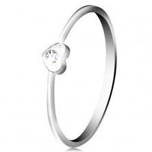 Diamond ring made of 14K white gold - heart with clear brilliant