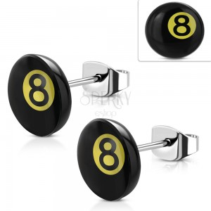 Stainless steel earrings, magic billiard ball number 8 - black and yellow colour
