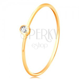 585 gold diamond ring - glossy clear brilliant in shiny mount, narrow shoulders