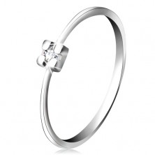 14K white gold ring - clear diamond in square mount