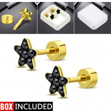 Steel stud earrings with a screw in gold colour, 316L steel, black zircon flower