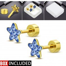 Steel stud earrings with a screw in gold colour, glittering flower made of blue zircons