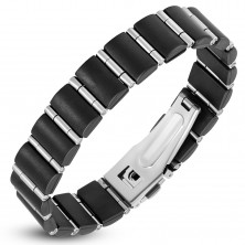 Steel-rubber bracelet, black rectangles and narrow silver rollers