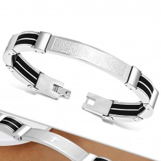 Steel bracelet in silver colour, black rubber parts, cross and a prayer