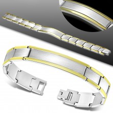 Stainless steel bracelet, bicoloured Y-links, prolonged plate