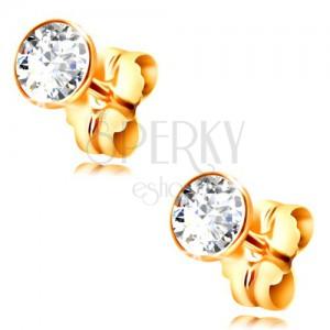 585 gold stud earrings - clear circular zircon in a mount, 3 mm