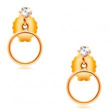 14K yellow gold earrings - clear circular zircon and thin loop