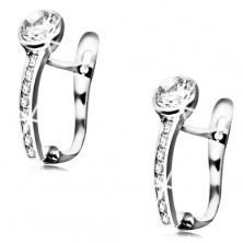 14K white gold earrings - clear circular zircon, diagonal sparkly line