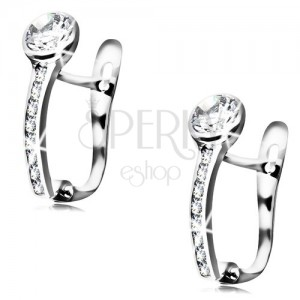 14K white gold earrings - clear circular zircon, diagonal sparkly line
