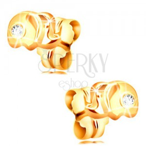 14K gold stud earrings - small elephant with a clear zircon