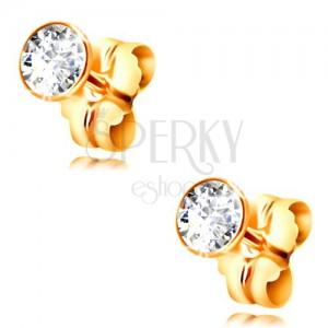 14K yellow gold stud earrings - clear circular zircon in a mount, 2,5 mm
