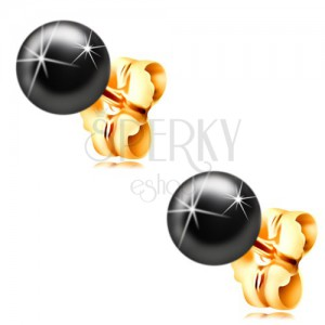 14K yellow gold earrings - dark-grey haematit ball, 6 mm