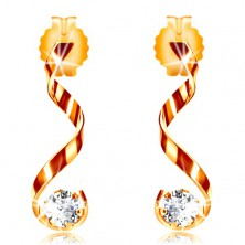 14K yellow gold earrings - shiny curved line, clear zircon
