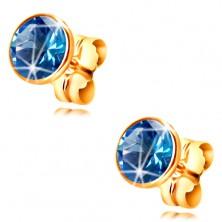 14K yellow gold earrings - blue circular zircon in a mount, 5 mm