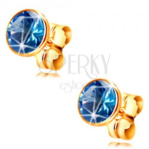 14K yellow gold earrings - blue circular zircon in a mount, 5 mm