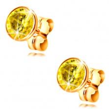 14K yellow gold earrings - yellow circular zircon in a mount, 5 mm
