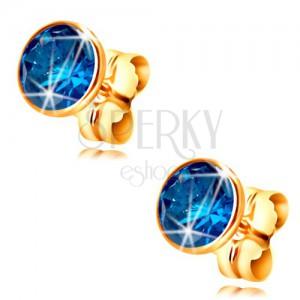 585 gold stud earrings - dark-blue circular zircon in a mount, 5 mm