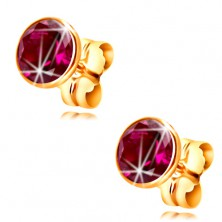 14K yellow gold earrings - dark-pink circular zircon in a mount, 5 mm