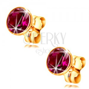 14K yellow gold earrings - dark-pink circular zircon in a mount, 5 mm